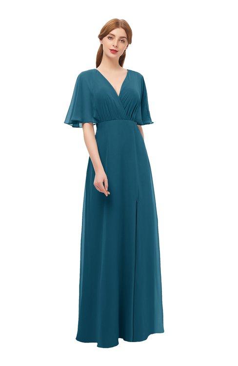 ColsBM Dusty Moroccan Blue Bridesmaid Dresses Pleated Glamorous Zip up Short Sleeve Floor Length A-line