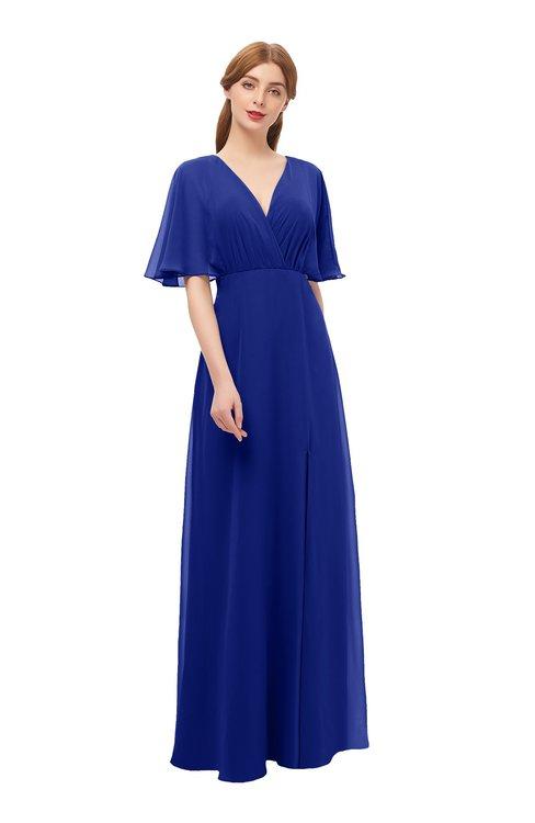 ColsBM Dusty Nautical Blue Bridesmaid Dresses Pleated Glamorous Zip up Short Sleeve Floor Length A-line