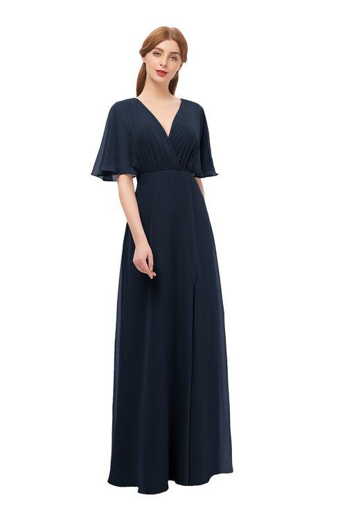 ColsBM Dusty Navy Blue Bridesmaid Dresses Pleated Glamorous Zip up Short Sleeve Floor Length A-line