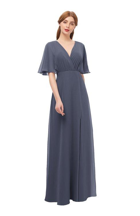 ColsBM Dusty Nightshadow Blue Bridesmaid Dresses Pleated Glamorous Zip up Short Sleeve Floor Length A-line