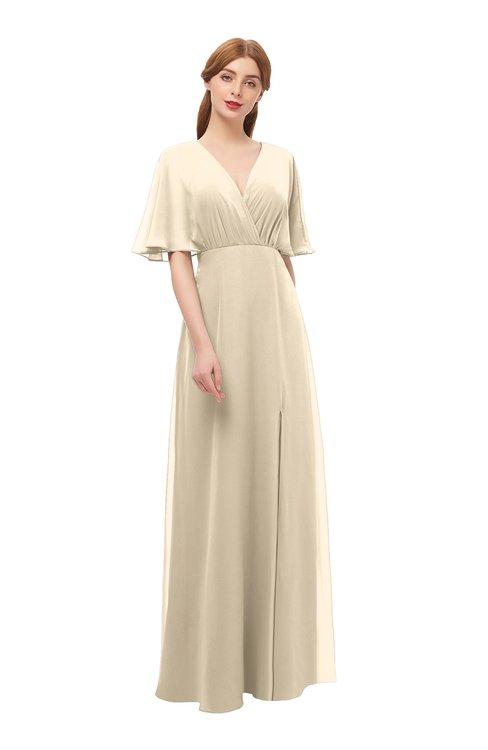 ColsBM Dusty Novelle Peach Bridesmaid Dresses Pleated Glamorous Zip up Short Sleeve Floor Length A-line