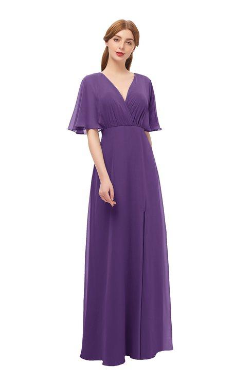 ColsBM Dusty Pansy Bridesmaid Dresses Pleated Glamorous Zip up Short Sleeve Floor Length A-line