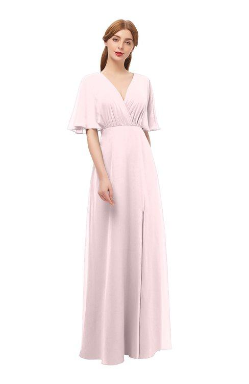 ColsBM Dusty Petal Pink Bridesmaid Dresses Pleated Glamorous Zip up Short Sleeve Floor Length A-line