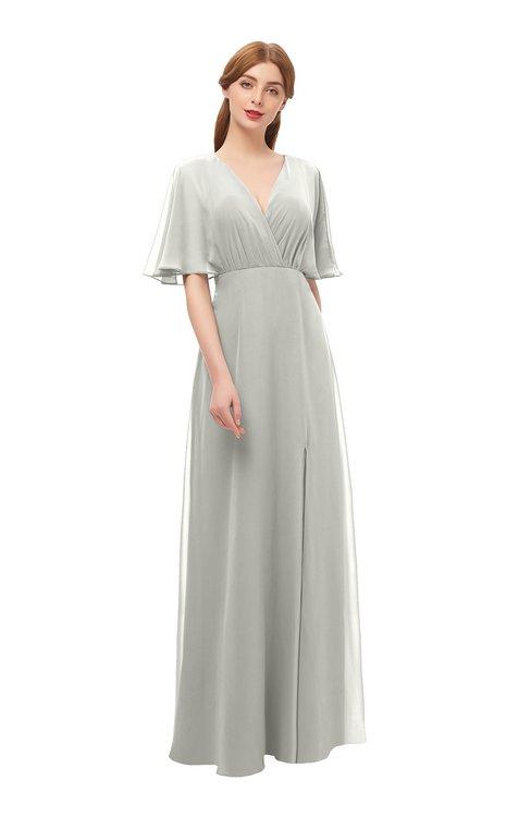 ColsBM Dusty Platinum Bridesmaid Dresses Pleated Glamorous Zip up Short Sleeve Floor Length A-line