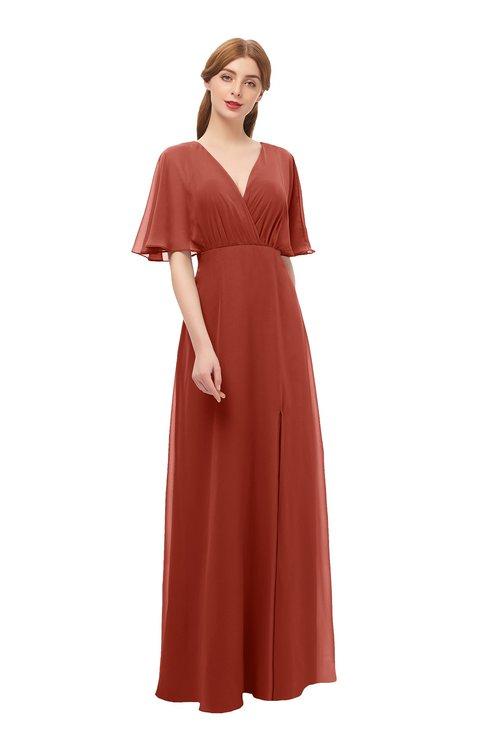 ColsBM Dusty Rust Bridesmaid Dresses Pleated Glamorous Zip up Short Sleeve Floor Length A-line