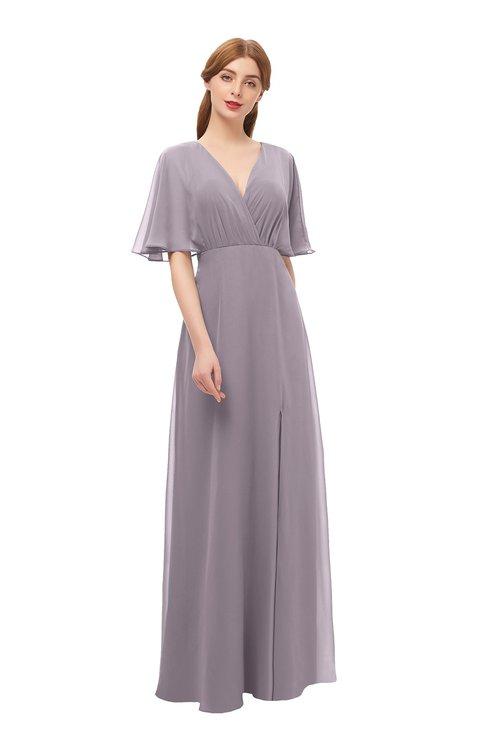 ColsBM Dusty Sea Fog Bridesmaid Dresses Pleated Glamorous Zip up Short Sleeve Floor Length A-line