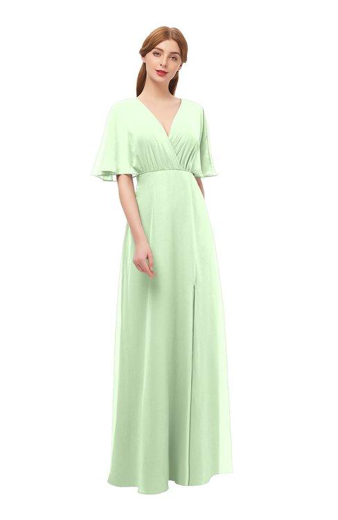 ColsBM Dusty Seacrest Bridesmaid Dresses Pleated Glamorous Zip up Short Sleeve Floor Length A-line