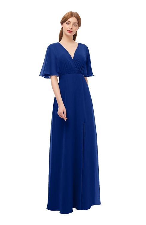 ColsBM Dusty Sodalite Blue Bridesmaid Dresses Pleated Glamorous Zip up Short Sleeve Floor Length A-line