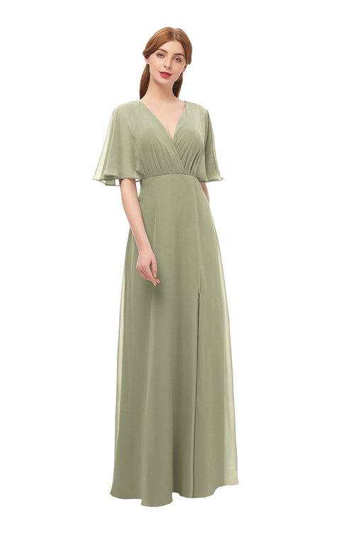 ColsBM Dusty Sponge Bridesmaid Dresses Pleated Glamorous Zip up Short Sleeve Floor Length A-line