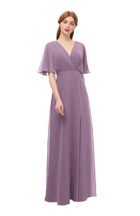 ColsBM Dusty Valerian Bridesmaid Dresses Pleated Glamorous Zip up Short Sleeve Floor Length A-line