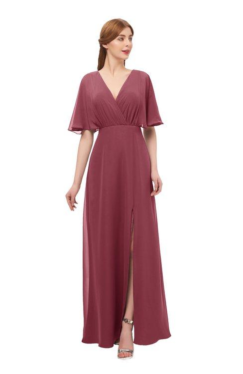 a1ade6b7b949 ... ColsBM Dusty Wine Bridesmaid Dresses Pleated Glamorous Zip up Short  Sleeve Floor Length A-line ...