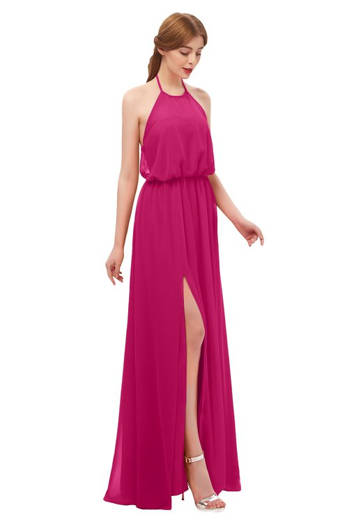 ColsBM Jackie Beetroot Purple Bridesmaid Dresses Casual Floor Length Halter Split-Front Sleeveless Backless