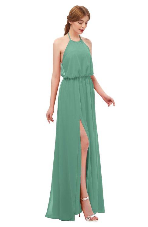 ColsBM Jackie Beryl Green Bridesmaid Dresses Casual Floor Length Halter Split-Front Sleeveless Backless