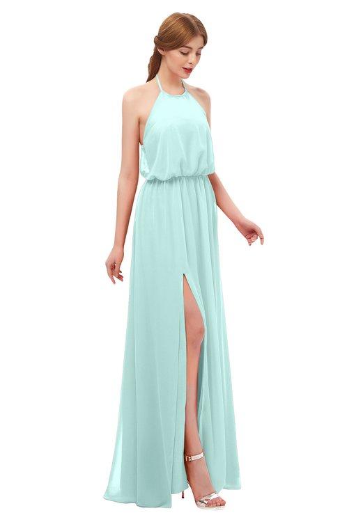 ColsBM Jackie Blue Glass Bridesmaid Dresses Casual Floor Length Halter Split-Front Sleeveless Backless