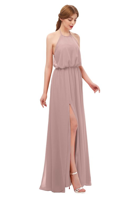 ColsBM Jackie Blush Pink Bridesmaid Dresses Casual Floor Length Halter Split-Front Sleeveless Backless