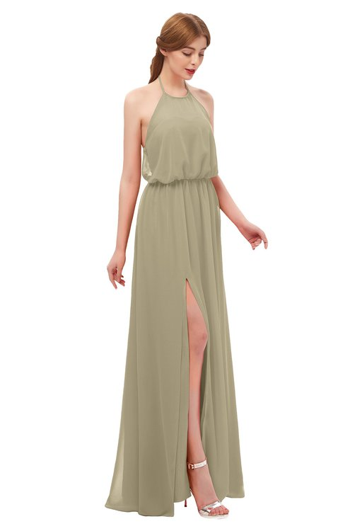 ColsBM Jackie Candied Ginger Bridesmaid Dresses Casual Floor Length Halter Split-Front Sleeveless Backless
