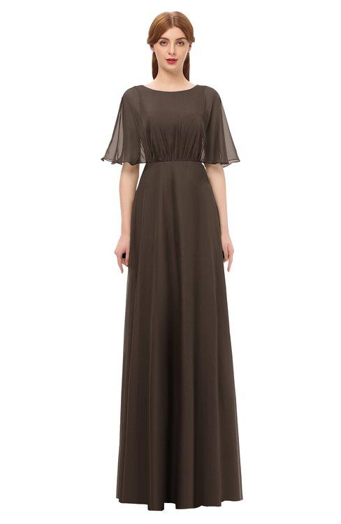 ColsBM Ricki Fudge Brown Bridesmaid Dresses Floor Length Zipper Elbow Length Sleeve Glamorous Pleated Jewel