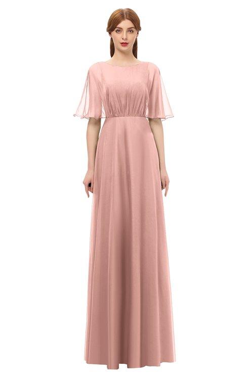ColsBM Ricki Light Coral Bridesmaid Dresses Floor Length Zipper Elbow Length Sleeve Glamorous Pleated Jewel