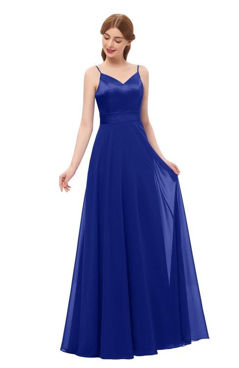 ColsBM Ocean Electric Blue Bridesmaid Dresses Elegant A-line Backless Floor Length Sleeveless Sash
