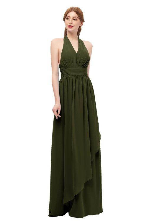 ColsBM Olive Beech Bridesmaid Dresses V-neck Zipper Pleated Sexy Floor Length A-line