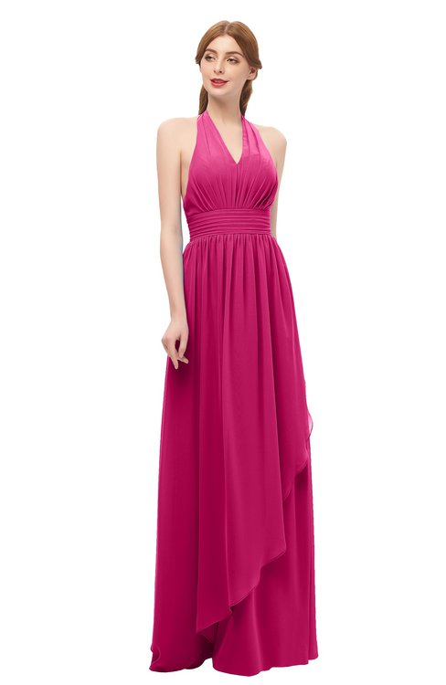 ColsBM Olive Beetroot Purple Bridesmaid Dresses V-neck Zipper Pleated Sexy Floor Length A-line