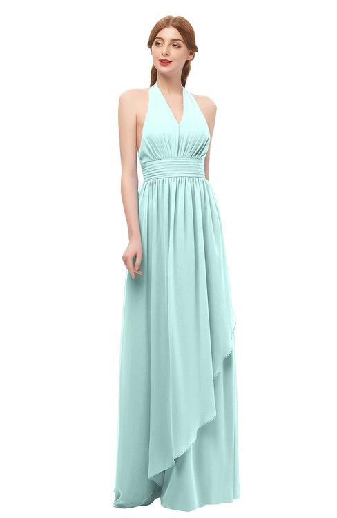 ColsBM Olive Blue Glass Bridesmaid Dresses V-neck Zipper Pleated Sexy Floor Length A-line