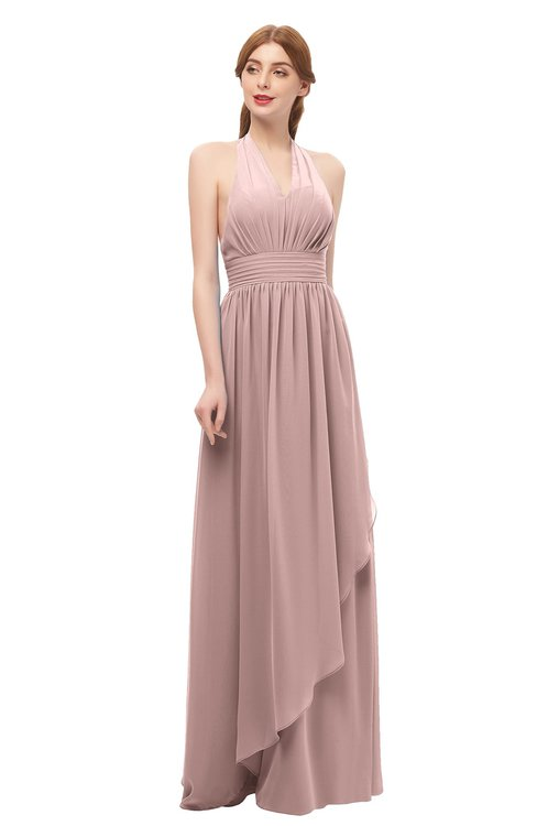 ColsBM Olive Blush Pink Bridesmaid Dresses V-neck Zipper Pleated Sexy Floor Length A-line