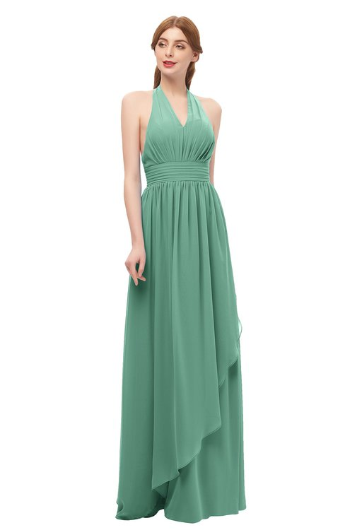 ColsBM Olive Bristol Blue Bridesmaid Dresses V-neck Zipper Pleated Sexy Floor Length A-line