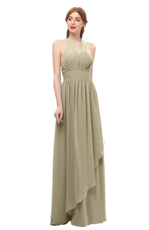 ColsBM Olive Candied Ginger Bridesmaid Dresses V-neck Zipper Pleated Sexy Floor Length A-line