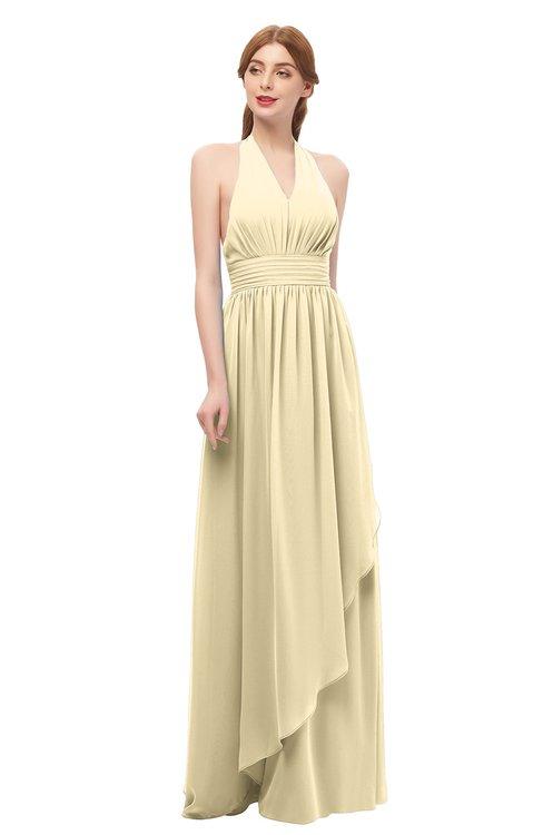 ColsBM Olive Cornhusk Bridesmaid Dresses V-neck Zipper Pleated Sexy Floor Length A-line