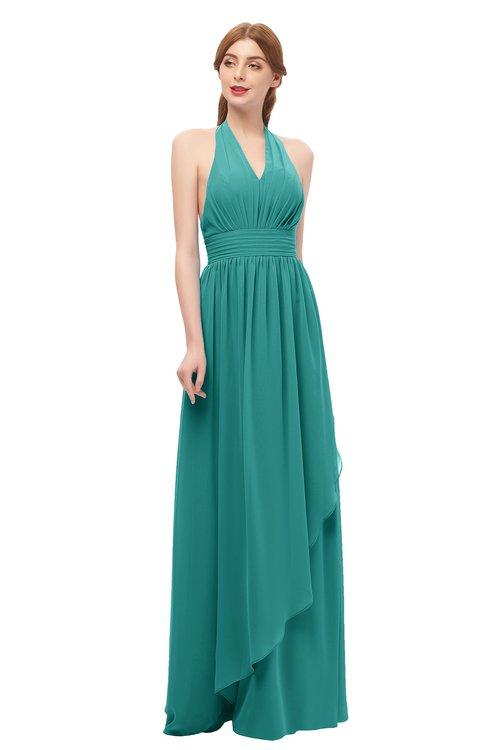 ColsBM Olive Emerald Green Bridesmaid Dresses V-neck Zipper Pleated Sexy Floor Length A-line