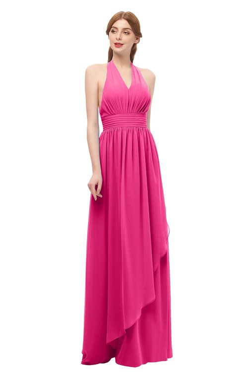 ColsBM Olive Fandango Pink Bridesmaid Dresses V-neck Zipper Pleated Sexy Floor Length A-line