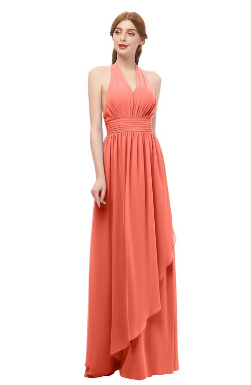 ColsBM Olive Fusion Coral Bridesmaid Dresses V-neck Zipper Pleated Sexy Floor Length A-line