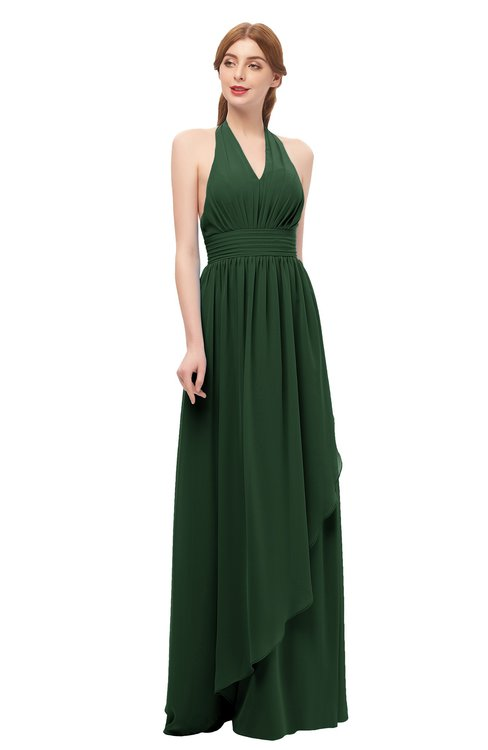 ColsBM Olive Hunter Green Bridesmaid Dresses V-neck Zipper Pleated Sexy Floor Length A-line