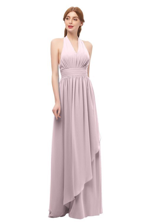 ColsBM Olive Pale Lilac Bridesmaid Dresses V-neck Zipper Pleated Sexy Floor Length A-line