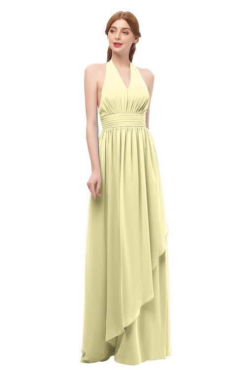 ColsBM Olive Soft Yellow Bridesmaid Dresses V-neck Zipper Pleated Sexy Floor Length A-line