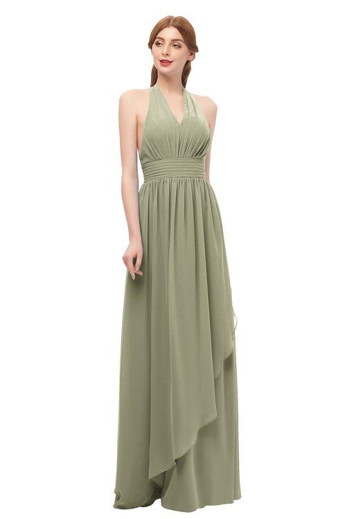 ColsBM Olive Sponge Bridesmaid Dresses V-neck Zipper Pleated Sexy Floor Length A-line