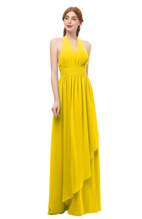ColsBM Olive Yellow Bridesmaid Dresses V-neck Zipper Pleated Sexy Floor Length A-line