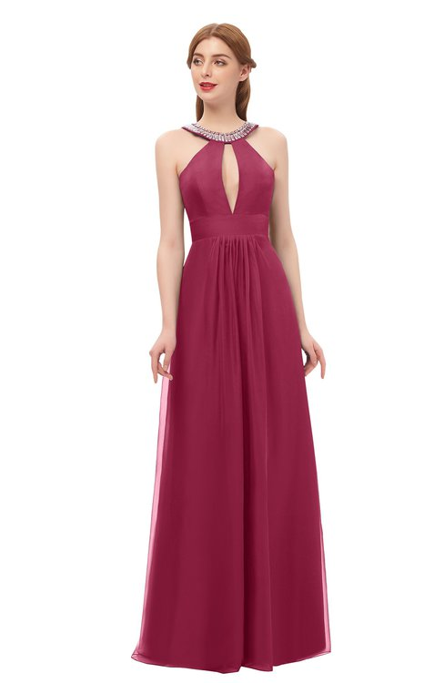 ColsBM Jayda Burgundy Bridesmaid Dresses Zipper Halter Glamorous Sleeveless Crystals Floor Length
