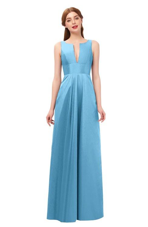 ColsBM Jayla Alaskan Blue Bridesmaid Dresses Sleeveless Sexy Zipper V-neck Floor Length Pleated