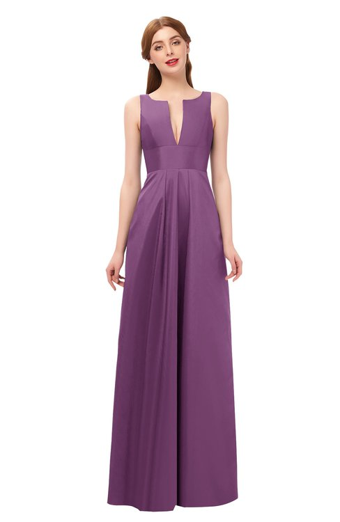 ColsBM Jayla Argyle Purple Bridesmaid Dresses Sleeveless Sexy Zipper V-neck Floor Length Pleated