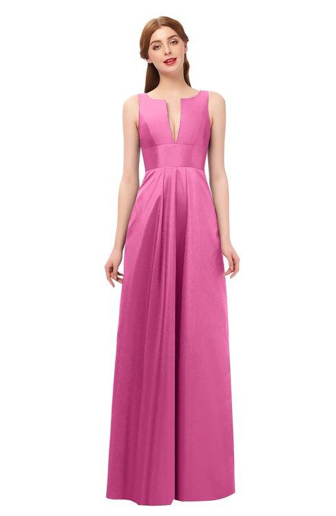 ColsBM Jayla Carnation Pink Bridesmaid Dresses Sleeveless Sexy Zipper V-neck Floor Length Pleated