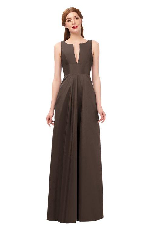 ColsBM Jayla Chestnut Brown Bridesmaid Dresses Sleeveless Sexy Zipper V-neck Floor Length Pleated
