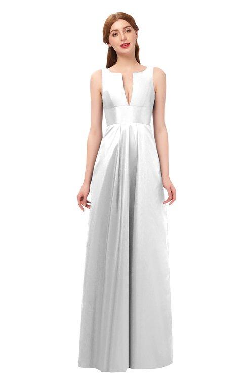 ColsBM Jayla Cloud White Bridesmaid Dresses Sleeveless Sexy Zipper V-neck Floor Length Pleated