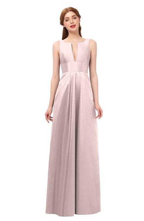 ColsBM Jayla Coral Pink Bridesmaid Dresses Sleeveless Sexy Zipper V-neck Floor Length Pleated