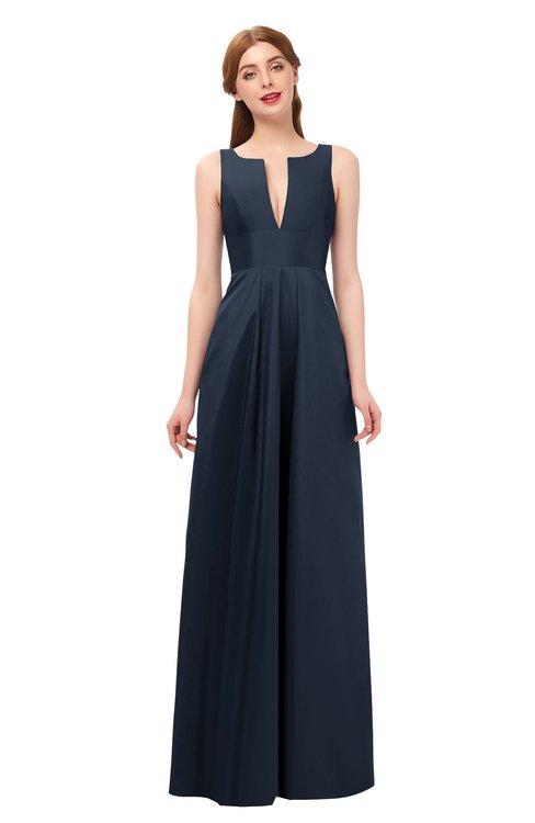 ColsBM Jayla Navy Blue Bridesmaid Dresses Sleeveless Sexy Zipper V-neck Floor Length Pleated