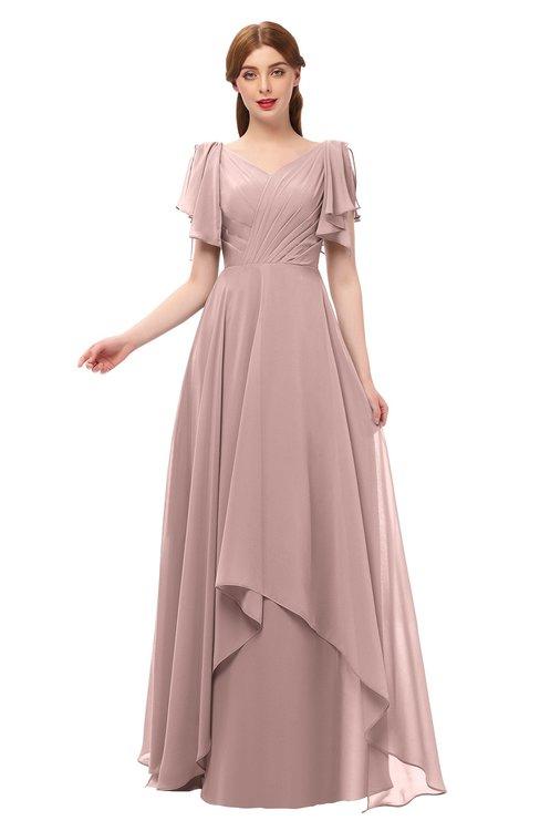ColsBM Bailee Blush Pink Bridesmaid Dresses Floor Length A-line Elegant Half Backless Short Sleeve V-neck