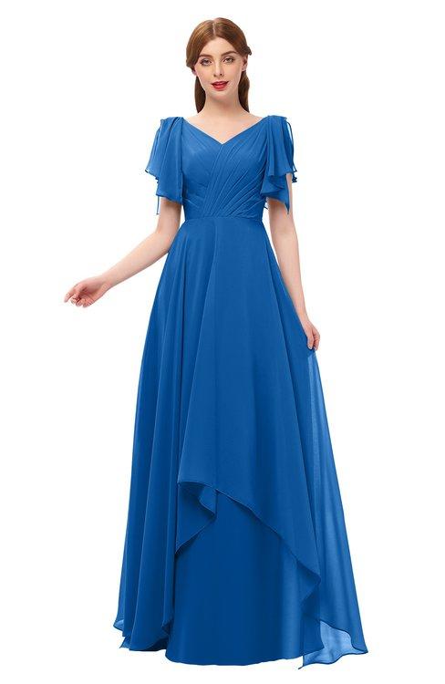 ColsBM Bailee Royal Blue Bridesmaid Dresses Floor Length A-line Elegant Half Backless Short Sleeve V-neck