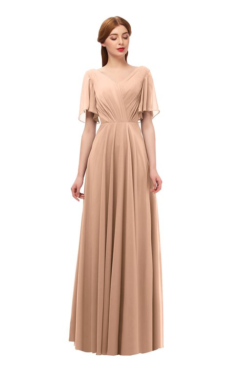 ColsBM Storm Almost Apricot Bridesmaid Dresses Lace up V-neck Short Sleeve Floor Length A-line Glamorous