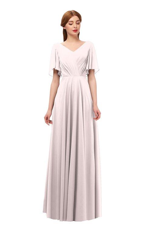ColsBM Storm Angel Wing Bridesmaid Dresses Lace up V-neck Short Sleeve Floor Length A-line Glamorous
